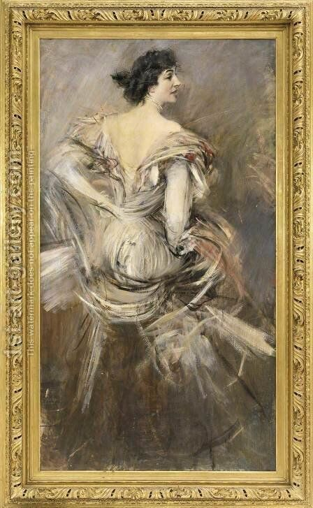 Lady in Brown Evening Dress by Giovanni Boldini - Reproduction Oil Painting