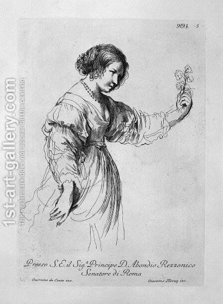 Half figure of a woman holding out a flower by Giovanni Battista Piranesi - Reproduction Oil Painting