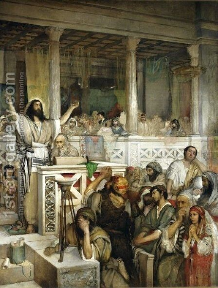 Christ Preaching at Capernaum by Maurycy Gottlieb - Reproduction Oil Painting