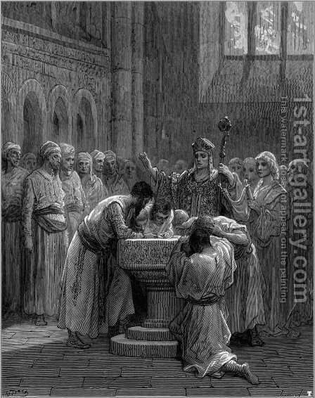 The Baptism of Infidels by Gustave Dore - Reproduction Oil Painting