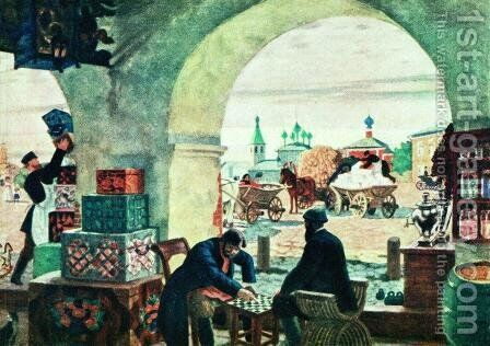 Gostiny Dvor (In a merchant shout) by Boris Kustodiev - Reproduction Oil Painting