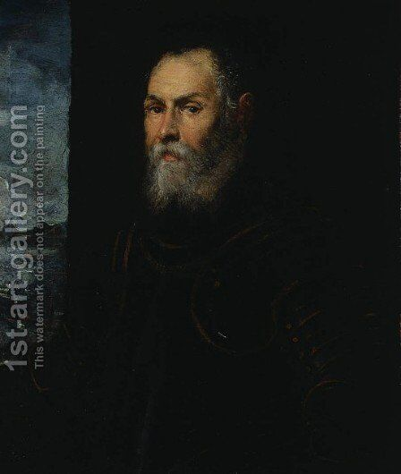Portrait of a Venetian admiral by Jacopo Tintoretto (Robusti) - Reproduction Oil Painting