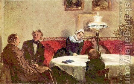 Abendgesellschaft by Adolph von Menzel - Reproduction Oil Painting