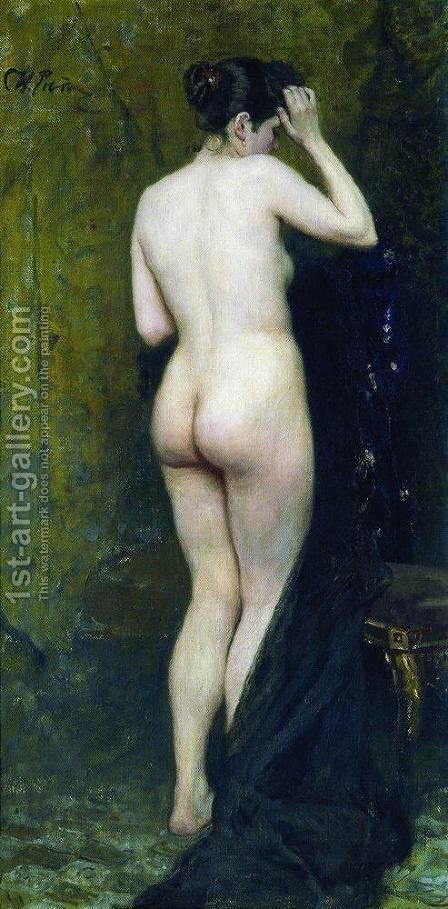 Nude Model (from behind) by Ilya Efimovich Efimovich Repin - Reproduction Oil Painting