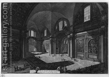 Interior of the Church of Our Lady of the Angels called the Charterhouse, which was once the principal room of the Baths of Diocletian by Giovanni Battista Piranesi - Reproduction Oil Painting