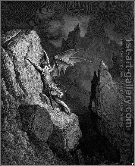 Satan's Flight Through Chaos by Gustave Dore - Reproduction Oil Painting