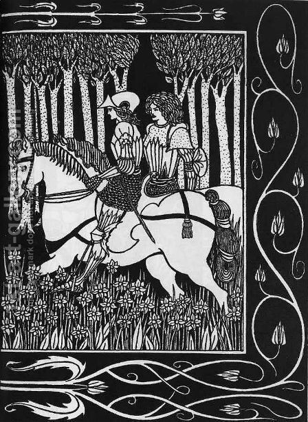 How King Mark and Sir Dinadan Heard Sir Palomides II by Aubrey Vincent Beardsley - Reproduction Oil Painting