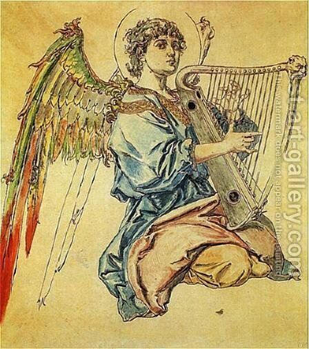 Angel with harp by Jan Matejko - Reproduction Oil Painting
