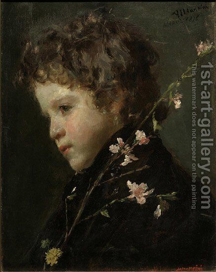 Almond Blossoms by Antonio Mancini - Reproduction Oil Painting