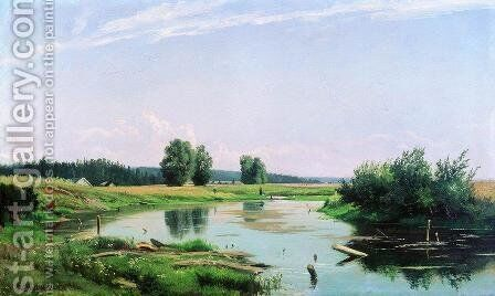 Landscape with lake by Ivan Shishkin - Reproduction Oil Painting