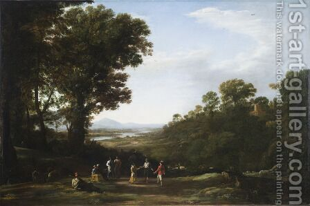 Villagers Dancing by Claude Lorrain (Gellee) - Reproduction Oil Painting