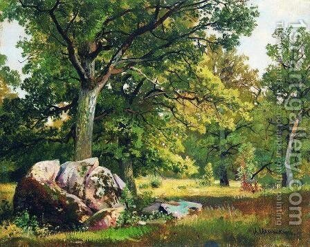Sunny day in the woods. Oaks by Ivan Shishkin - Reproduction Oil Painting