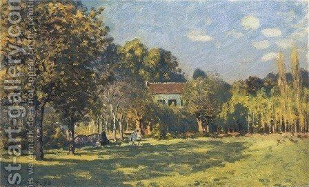 A Park in Louveciennes by Alfred Sisley - Reproduction Oil Painting