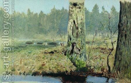 Trunks of trees by Arkhip Ivanovich Kuindzhi - Reproduction Oil Painting