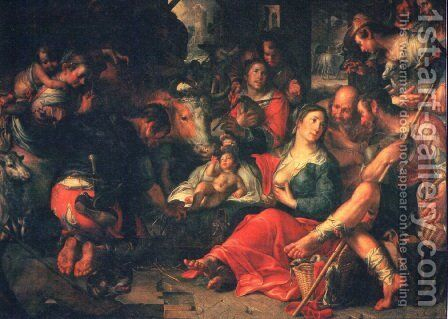 Adoration by the Shepherds by Joachim Wtewael (Uytewael) - Reproduction Oil Painting