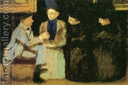 The Discussion by Edouard  (Jean-Edouard) Vuillard - Reproduction Oil Painting