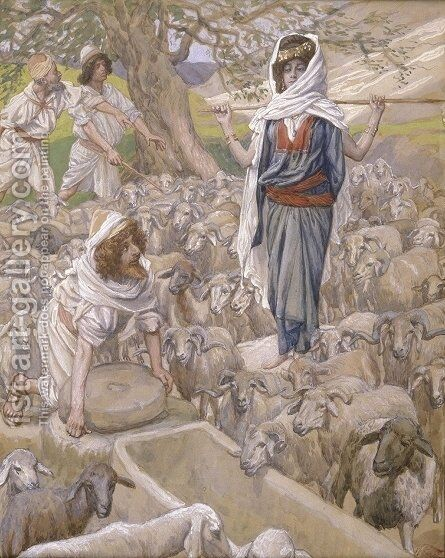 Jacob and Rachel at the Well by James Jacques Joseph Tissot - Reproduction Oil Painting