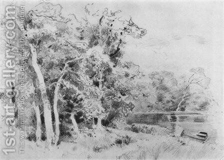 Grove on the shore of the pond by Ivan Shishkin - Reproduction Oil Painting
