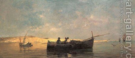 Fishing boat at dusk by Constantinos Volanakis - Reproduction Oil Painting