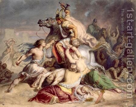 Scene de bataille, guerrier gaulois a cheval by Theodore Chasseriau - Reproduction Oil Painting