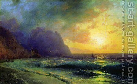 Sunset at Sea by Ivan Konstantinovich Aivazovsky - Reproduction Oil Painting