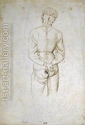Study of a Young Man with his Hands tied behind his back by Antonio Pisano (Pisanello) - Reproduction Oil Painting