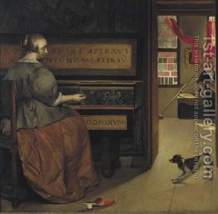 Woman at the Virginals by Gabriel Metsu - Reproduction Oil Painting