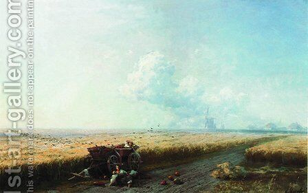 During the harvest in Ukraine by Ivan Konstantinovich Aivazovsky - Reproduction Oil Painting