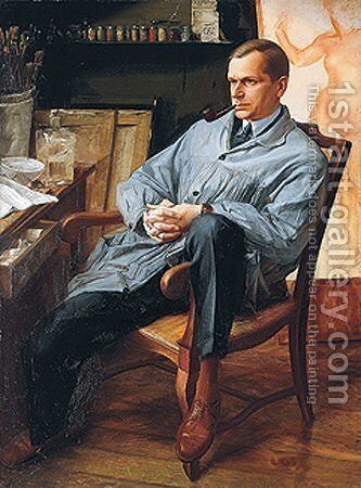 Portrait of Vasily Shuhaeva in his Studio by Alexandre Jacovleff - Reproduction Oil Painting