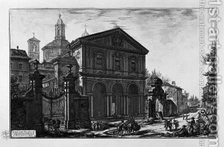 View of the Basilica of St. Lawrence Outside the Walls by Giovanni Battista Piranesi - Reproduction Oil Painting