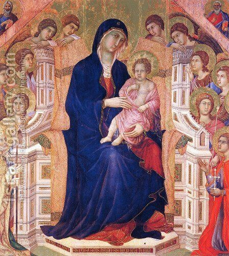 Madonna and Child on a throne by Duccio Di Buoninsegna - Reproduction Oil Painting