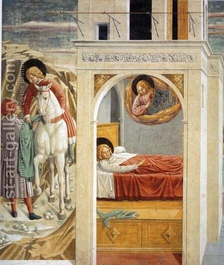 St. Francis Giving Away His Clothes, Vision of the Church Militant and Triumphant (detail) by Benozzo di Lese di Sandro Gozzoli - Reproduction Oil Painting
