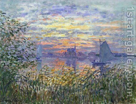 Sunset on the Siene by Claude Oscar Monet - Reproduction Oil Painting
