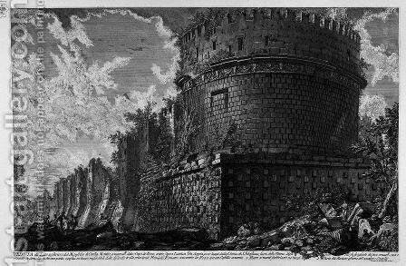 The Roman antiquities, t. 3, Plate LII. View of the back side of the Mausoleum of Cecilia Metella. by Giovanni Battista Piranesi - Reproduction Oil Painting