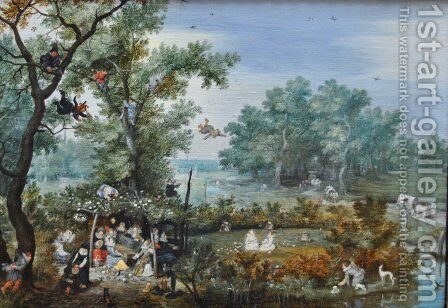 A Merry Company in an Arbor by Adriaen Pietersz. Van De Venne - Reproduction Oil Painting
