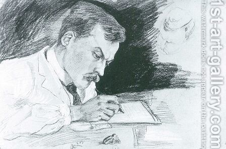 Portrait of Dr. Ludwig Deubner, writing by August Macke - Reproduction Oil Painting