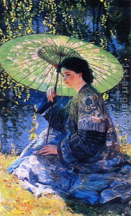 The Green Parasol by Guy Rose - Reproduction Oil Painting