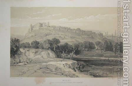 Lithography of Melfi by Edward Lear - Reproduction Oil Painting