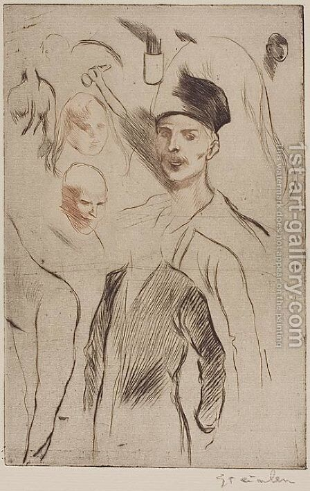 Planche de Croquis No 3 by Theophile Alexandre Steinlen - Reproduction Oil Painting