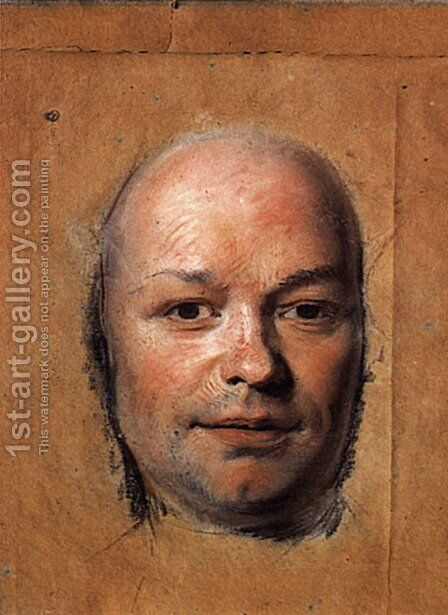 Study for portrait of unknown man 2 by Maurice Quentin de La Tour - Reproduction Oil Painting