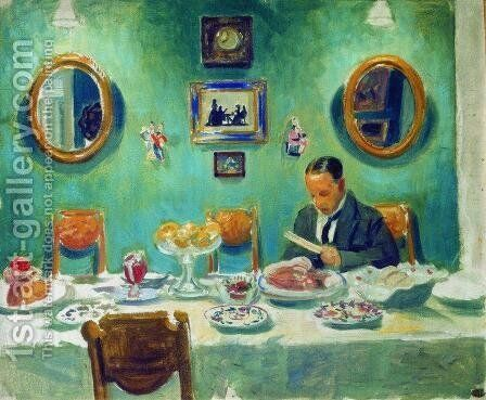 Portrait of M.V. Dobuzhinsky at the table by Boris Kustodiev - Reproduction Oil Painting