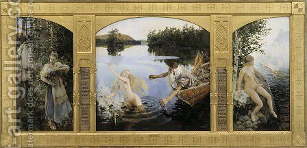 Aino Myth, Triptych by Akseli Valdemar Gallen-Kallela - Reproduction Oil Painting