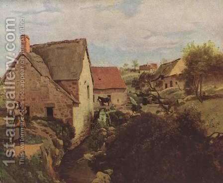 Cabins with Mill on the River Bank by Jean-Baptiste-Camille Corot - Reproduction Oil Painting