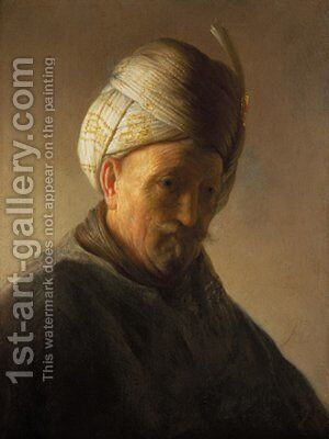 Old man with turban by Rembrandt - Reproduction Oil Painting