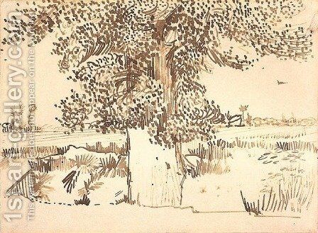 Landscape with a Tree in the Foreground by Vincent Van Gogh - Reproduction Oil Painting