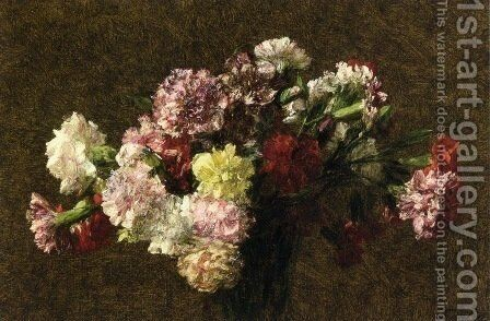 Carnations 2 by Ignace Henri Jean Fantin-Latour - Reproduction Oil Painting