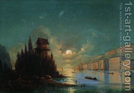 View of seaside town in the evening with a lighthouse by Ivan Konstantinovich Aivazovsky - Reproduction Oil Painting