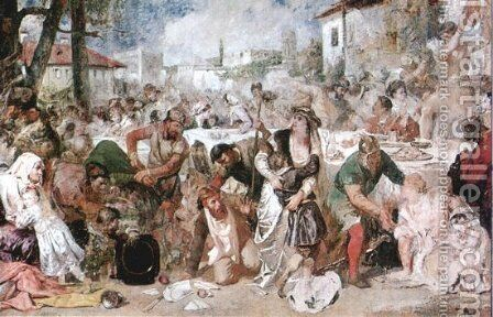 The Feasting Boyars Taken by Surprise by Vlad the Impaler's Envoys by Theodor Aman - Reproduction Oil Painting