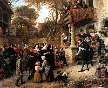 A village wedding 2 by Jan Steen - Reproduction Oil Painting