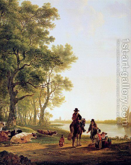 Italian landscape with travellers by Jacob van Strij - Reproduction Oil Painting